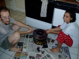 Gita and I making a batch of mulberry wine in our kitchen –Summer 2006